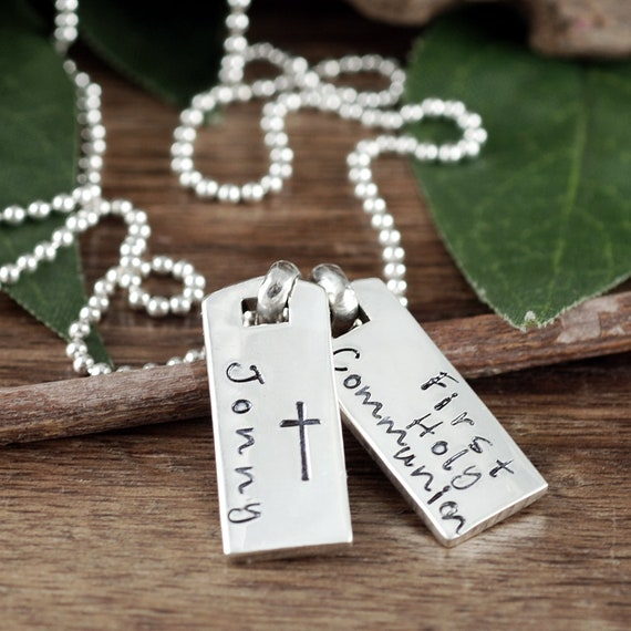 Personalized First Holy Communion Necklace for him, Communion Gift for Her, Communion Jewelry, Mini Dog Tag Necklace, Dog Tag Jewelry