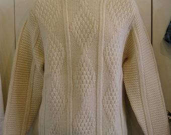 Vintage 1960's Irish Wool Classic Fisherman Sweater size Large Kilkenny