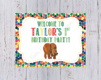 Brown Bear Birthday Party Welcome Sign