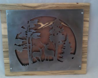 Rustic buck and doe metal and wood wall decor