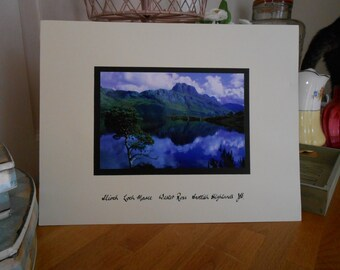 colour professional photograph of scottish highlands loch initialled jbs