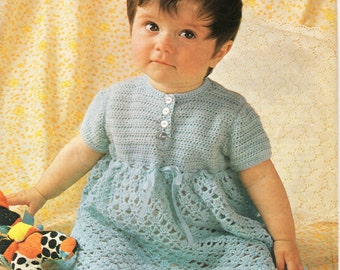 Baby Crochet Pattern Baby Girls Crochet Dress Baby Girls Crochet Pattern Baby Crochet Dress Pattern 18-21 inch 3 Ply PDF Instant Download