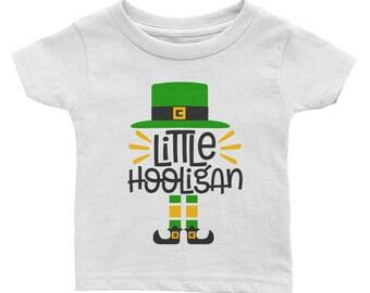 Little Hooligan St Patrick's day irish four leaf clover leprechaun Infant Tee