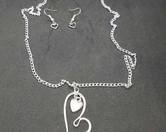 Silver heart necklace and earrings set  (JS012)