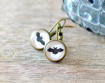 Black Bat Earrings. Bat Silhouette Earrings. Bat Studs. Black Bat Posts. Bat Drop Earrings. Halloween Earrings.