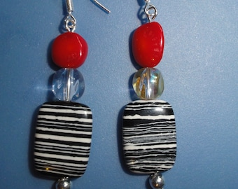 Black & White Calsilica w/ Red Coral Sterling Silver .925 Earring Hook