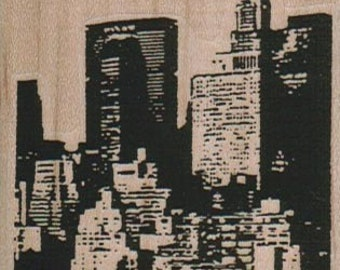 rubber stamps New York NYC Skyscrapers With Chrysler Building 2 1/4 x 3 cling stamp, unmounted or wood mounted  10322