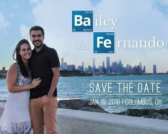 Chemistry Title Save The Date for Bailey, periodic table of elements save the date, chemistry save the date cards, save the date postcards