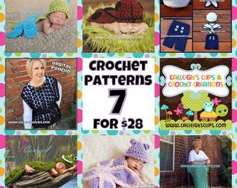 Crochet Pattern Bundle - 7 for 28.00 - digital PDF Files (not finished items)