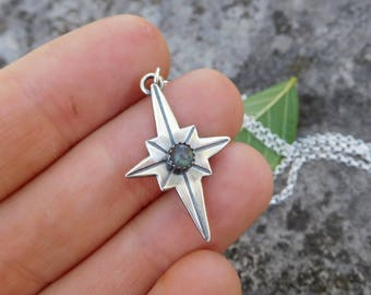Sterling silver North Star pendant | Silver star necklace | compass necklace | compass rose necklace | dainty necklace | labradorite