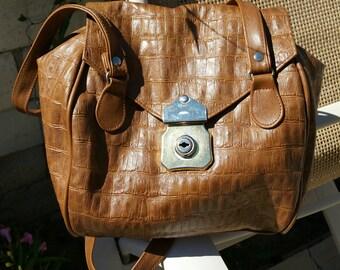 LAST CHANCE DEALS -- 1990s Brown Mock Croc Shoulder bag by Pacific Express