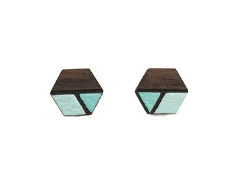 Hexagon Studs, Geometric Studs, Blue two toned studs, Laser cut studs, laser cut earrings, wooden studs, wooden earrings, graduation gift