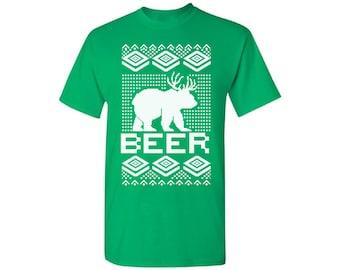 Beer Shirt Ugly Christmas Shirt Ugly Christmas t-shirt Mens Holiday Tee Christmas tshirts for men holiday top Gift for him Holiday Party
