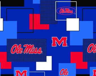 University of Mississippi Ole Miss Rebels Cotton Fabric 1 Yard Sports Team 100% Cotton
