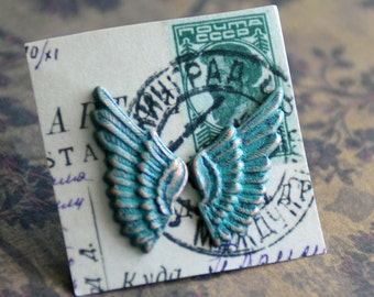 Angel Wings Studs, Surgical Steel Studs Wing Stud Earrings, Feather Earrings, Steampunk Wing Jewelry, Unisex Earrings, Verdigris Wings SRAJD