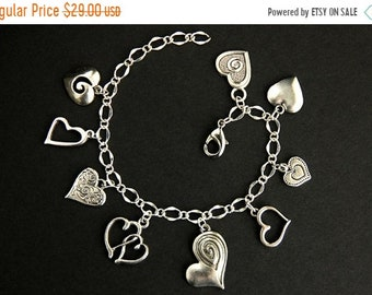 MOTHERS DAY SALE Lots of Love Bracelet. Heart Bracelet. Decorative Heart Charm Bracelet. Romantic Jewelry. Silver Bracelet. Handmade Bracele