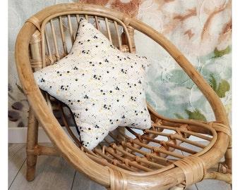 Star cushion floral ecru / blue ink