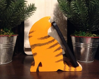 Kitty Cat Cell Phone Stand, Wood Phone Stand, Phone Holder, iPad Holder