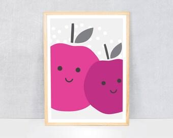 plums print / kids art print / kids wall art / cute illustration / bright colours / kids poster print / fruit
