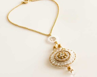 Gold Chain Necklace with a Pendant of Svarovski Crystal Beads and Pearls in Clear and Gold and Crystal Set Clasp. Beaded Necklace S282