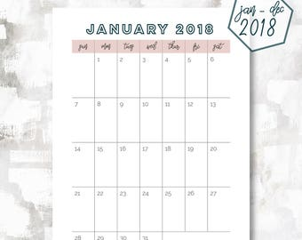 The 1 Page Calendar, Sunday Start | January - December 2018 | A6 Size | Printable Planner | Printable Calendar | OG Style