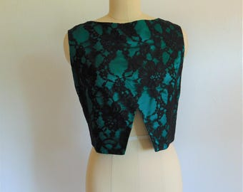 60s green satin and black lace CROPPED TOP size medium