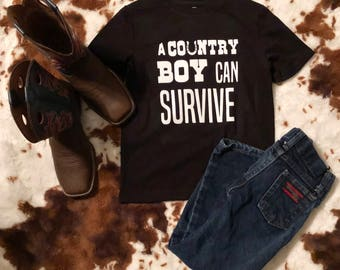 A county boy can servive kids tee | Rodio | Boy clothing | Country | Birthday