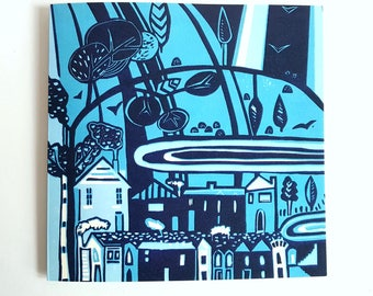 greeting card, blue, bluetown, lino print, art, quality card, square card, architecture, townscape, houses, new home card, blank card,