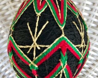 Temari ball Japanese embroidery home decor traditional art handmade sphere ball ornament unique gift Mother's day Black red green Christmas