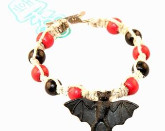 Bat Roach Clip Natural Hemp Bracelet Black Red Wood Crow Beads HOTI Alligator Clip Mens Beaded 420 Rock Tattoo Handmade Peruvian Ceramic
