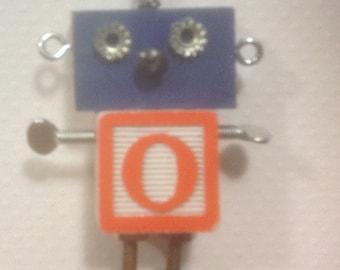 "Mini Bot, letter ""O"", mixed media robot sculpture"