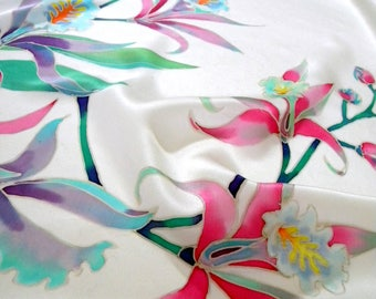 Orchids silk scarf Mother day gift from daughter Batik scarf shawl Painted scarf Wedding gift baptism gift for her Silk bridal wrap