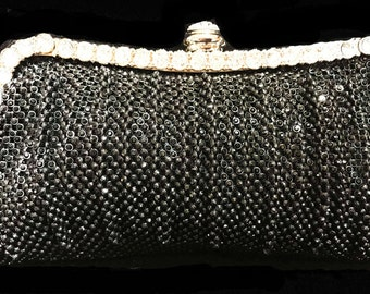 New Small Black  Rhinestone Mesh  Soft Clutch Evening Handbag