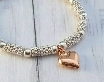 Rose Gold Heart Bracelet, Silver Bracelet, Rose Gold Heart Charm, Stretch Bracelet,  Stacking Bracelets, Silver Bead Bracelet