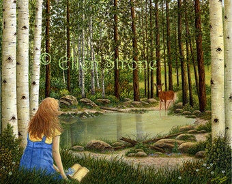 ACEO Card, Giclee print, art, ACEO,  Ellen Strope, girl, aspen trees, water, pond, deer, forest
