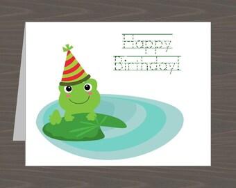 Frog Birthday Cards for Kids, Froggie Birthday Cards, Frog Birthday Notes, Toad Birthday Card, Kids Frog Birthdayday Card, Cute Frog Card