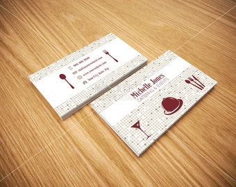 Printable Catering Services Business Cards/ Custom Cards/ Catering Logo / Chef Business Card