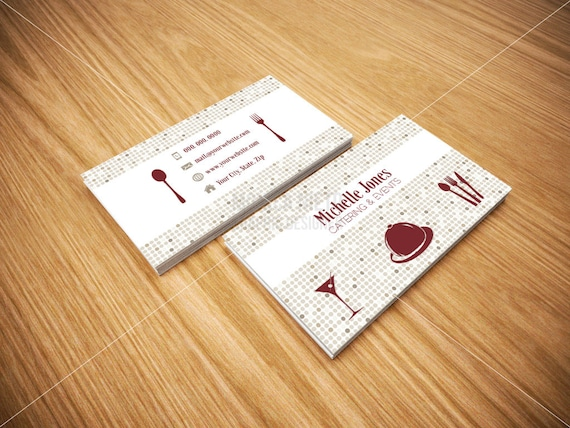 Printable catering services business cards custom cards reheart