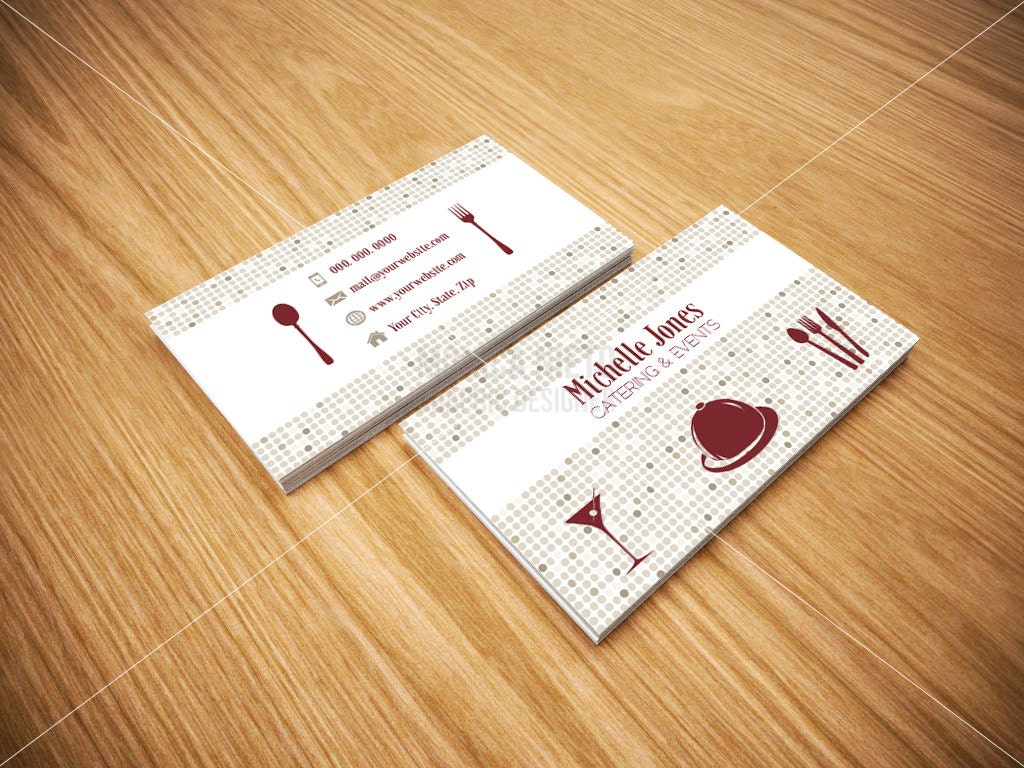 Printable Catering Services Business Cards/ Custom Cards/