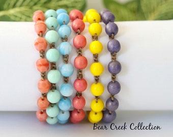 Blue, Boho Beaded Bracelet, Sky Blue, Round Glass Beads, Stacking, Layering, Crochet Jewelry, Boho Style, Bohemian, Cord Bracelet