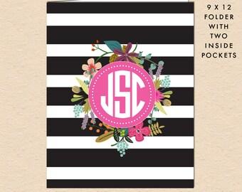 Black White Stripes & Floral - Circle Monogram - Personalized, Custom Pocket Folder