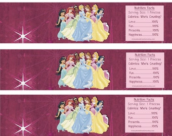 Princess Water Bottle Wrappers-DIGITAL-Check out the matching items in my shop