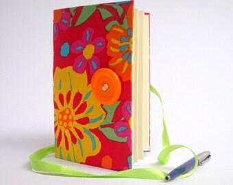 Red journal flowers journal, Handmade journal, notebook, Writing journal, colorful journal, lined journal, diary, fabric journal notebook
