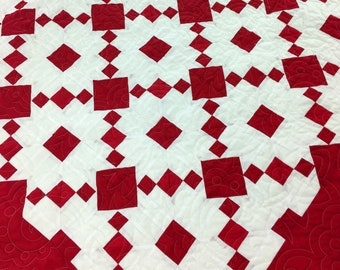Red & White Single Irish Chain - Patchwork FINISHED QUILT