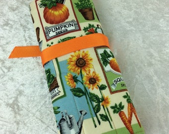 Handmade Makeup Pen Pencil Roll Crochet Knitting needles tool holder case Garden Vegetables Seed Packets