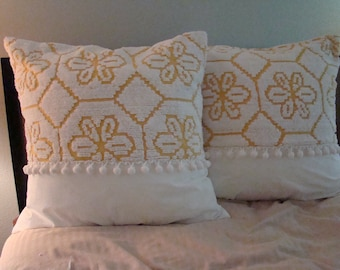 "Set Of Two Harvest Gold Chenille And Muslin Euro Shams With Pom Pom Fringe for 26"" Pillow Insert"