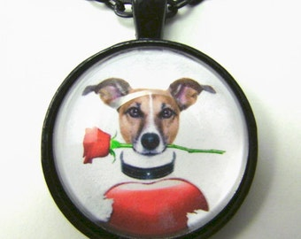 ROMANTIC JACK Necklace -- Fun necklace for Jack Russell Terrier lovers and the young at heart The Jack of Luv