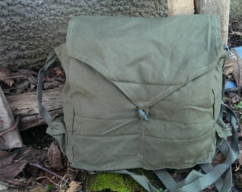 Vintage Shoulder Khaki Bag, Army Messenger Bag from 1970s, Student Bag, Military Bag USSR type Cold War