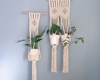 Macrame Wall Hanging Planter / Handmade Natural Plant Hanger / Diamond Design / Single & Double Sizes