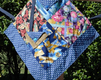 Japanese Print Quilted Apron with Blue and White Star Backing Fabric